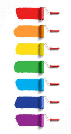 Walzenbürsten mit sieben Farben Farbe Illustration