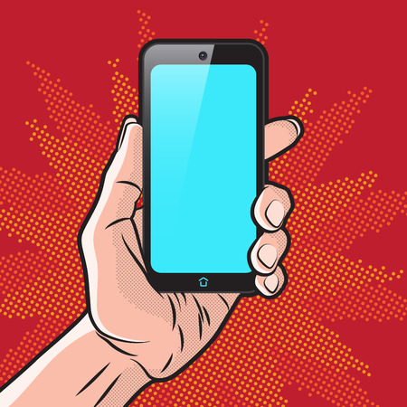 cartoon hands: PopArt Style Mokup with Smartphone in Hand Illustration