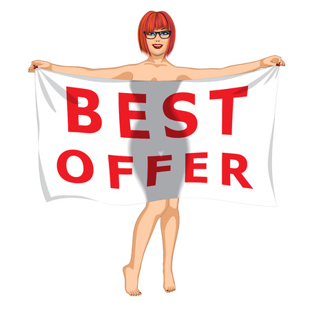 sexy meisje: Sexy Girl Behind of the Best Offer Banner Stock Illustratie