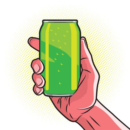 hand holding: Fresh Green Drink Can in Hot Red Hand Illustration