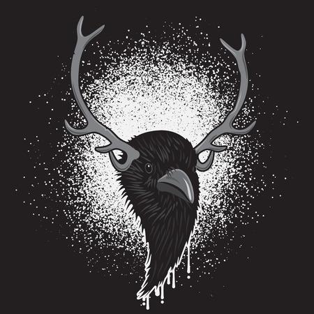 horned: Horned Head of Raven Bird