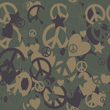 undercover: Surreal Military Camouflage Background with Love and Peace sign and Stars Illustration