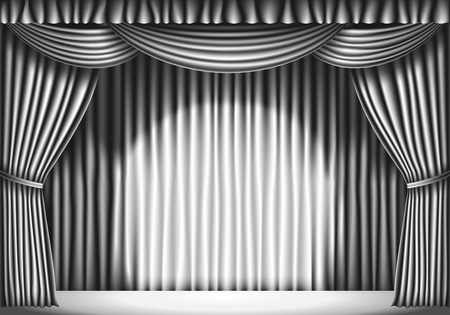 white curtain: Stage with White Curtain. black and white retro illustration