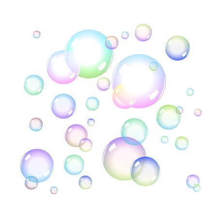 jabon: Burbujas de jabón de colores Set con Transparencia Vectores