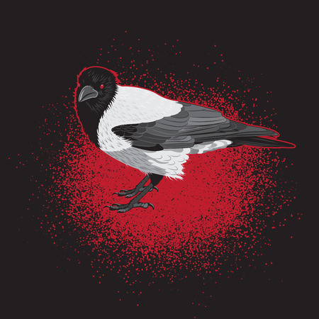 red eyes: Crow Bird with Red Eyes Illustration