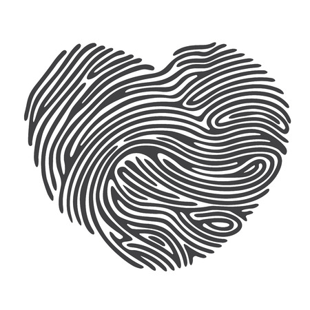 security symbol: Black Heart Shape Finger Print Illustration