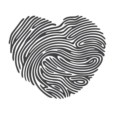 Black Heart Shape Finger Print Vectores