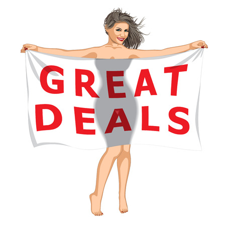 sexy young woman: Sexy Girl Behind of the Great Deals Banner