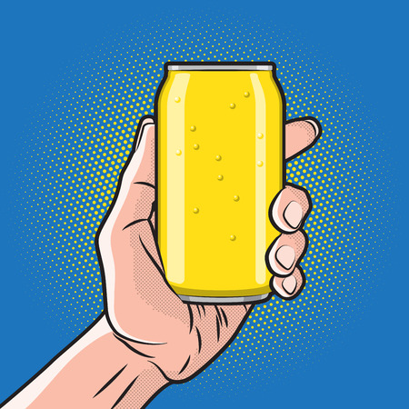 cola canette: Boisson fraîche Can in Hand Illustration