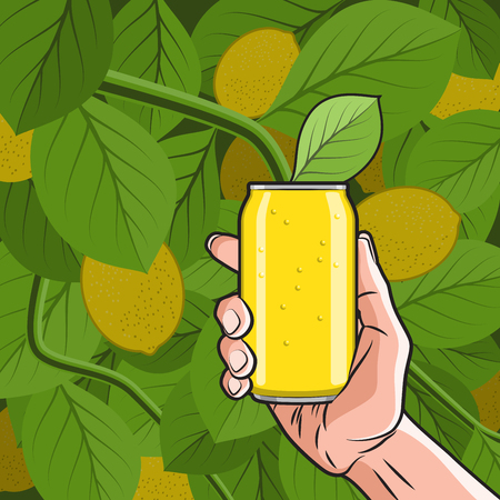 drink can: Fresh Lemon Drink Can in Hand on the Lemon Tree background
