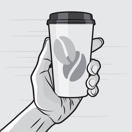 hold hands: Retro Style - Paper Coffee Cup in Hand Illustration