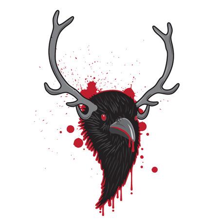 horned: Bloody Horned Head of Raven Bird Illustration