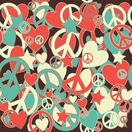 Surreal Military Camouflage Background with Love and Peace sign and Stars Illustration