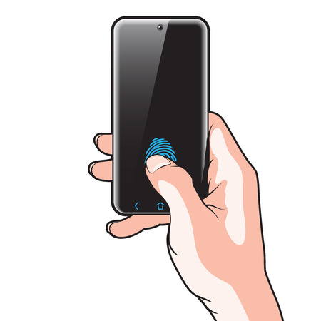 semitransparent: Semitransparent Smartphone with Red Button in Hand Illustration