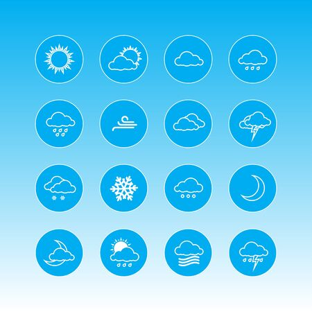 weather forecast: weather forecast icons in blue rounds
