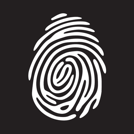 white finger print on black background