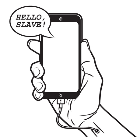 Smartphone Talks with Human and Charges himself from Hand Illustration