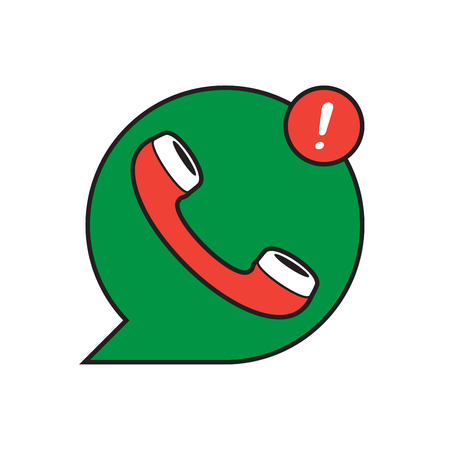 phone: Сlassic wire phone handset in speech bubble icon