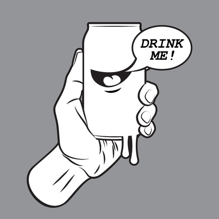 drink can: Fresh Drink Can in Hand Illustration
