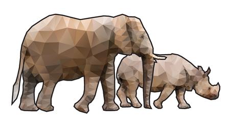 african grey: Polygonal Elephant and Rhinoceros
