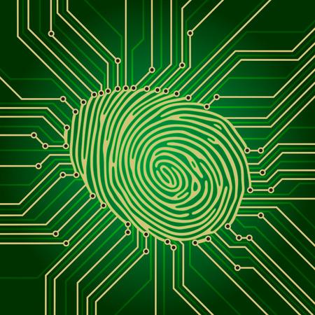 fingerprint: Fingerprint Identification System Green Electronics Scheme Illustration