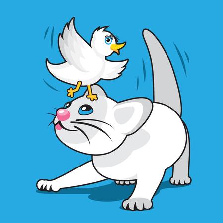 white bird: Playful Cartoon White Kitten with White Bird on Head Illustration
