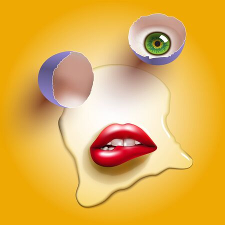cracked raw egg with red lips and eye