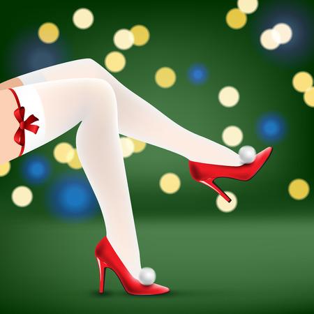 piernas mujer: piernas de la mujer de la Navidad en zapatos rojos y medias blancas