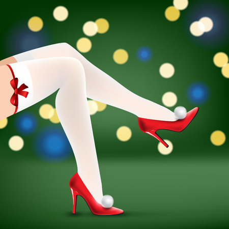 legs stockings: woman christmas legs in red shoes and white stockings