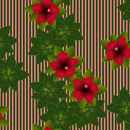 beautiful red hibiscus flower: Seamless pattern of Red flower of hibiscus and green leave background Illustration