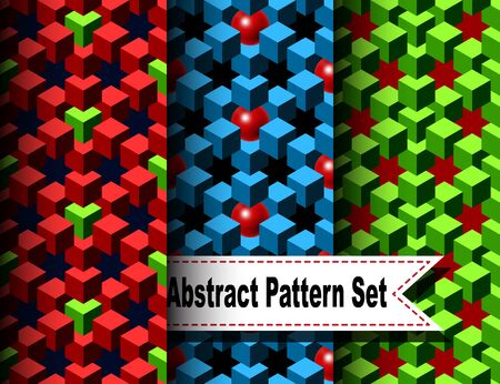 chainlink fence: Set of the Abstract Pattern with Cubes and Balls