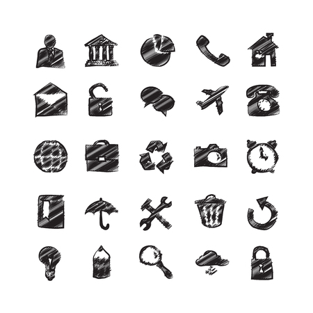 phone hand: Hand Drawn Sketch Business Icons
