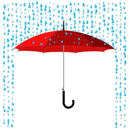 open classic red umbrella stick under rain