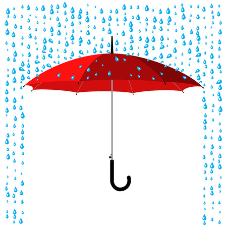 open classic red umbrella stick under rain