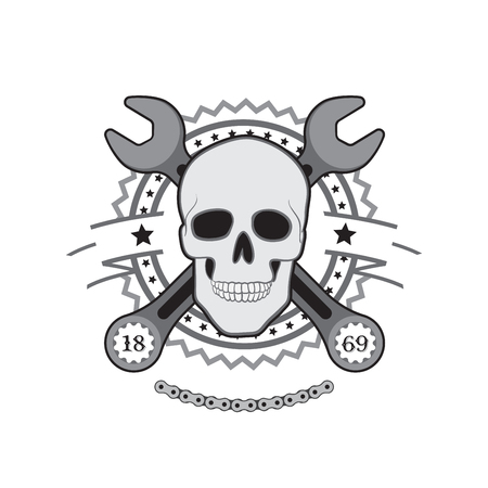 motors: Human Skull with wrench motor club logo Illustration
