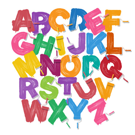 赤いローラー ブラシ アルファベット フォント セット