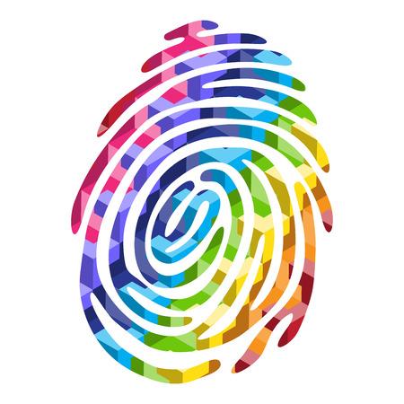 odcisk kciuka: Streszczenie kolor linii papilarnych światła