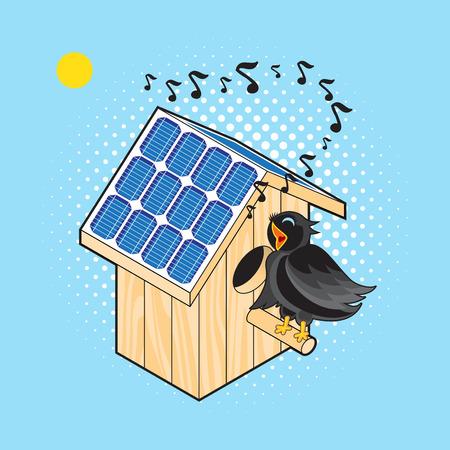 starling: Black Bird Sings near the Nesting Box with Solar Panels