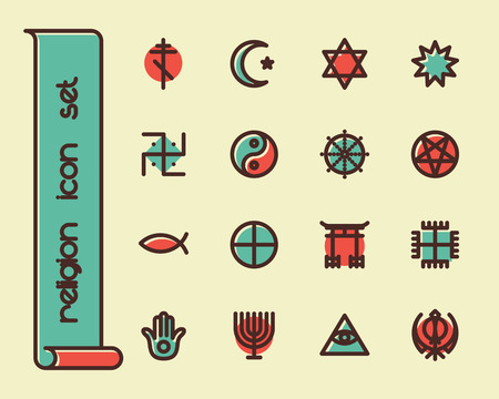 bahai: Fat Line Icon set for web and mobile. Modern minimalistic flat design elements of world religious symbols Illustration