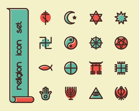 hindu temple: Fat Line Icon set for web and mobile. Modern minimalistic flat design elements of world religious symbols Illustration