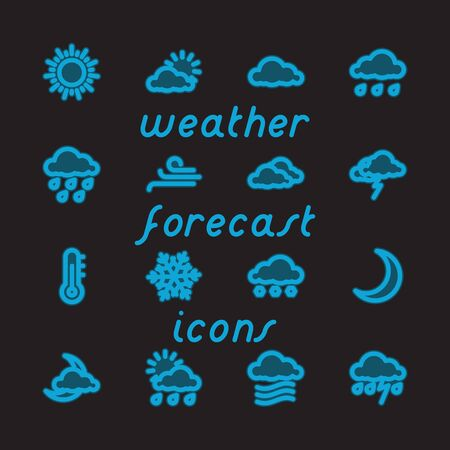 newscast: Fat Line Icon set for web and mobile. Modern minimalistic flat design elements of Weather Forecast. Blue Glow on Black Background