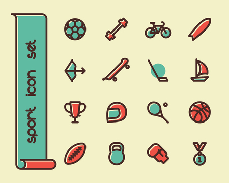 ball game: Fat Line Icon set for web and mobile. Modern minimalistic flat design elements of sport equipment, Health and Fitness Illustration