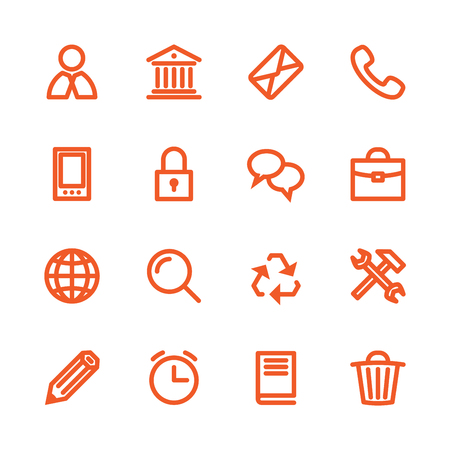 business services: Business Fat Line Icon set for web and mobile. Modern minimalistic flat design elements of customer service, client support, success business management, work tools, banking services, office equipment