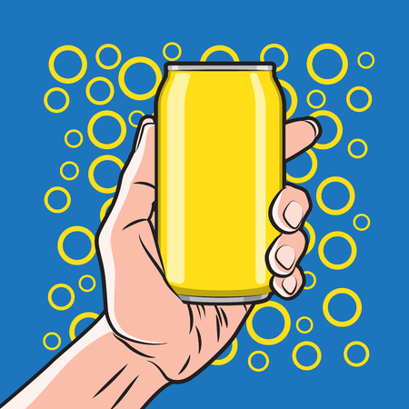 can food: Fresh Drink Can in Hand Illustration