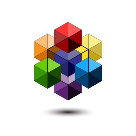 Abstract Color Cubes Logo template