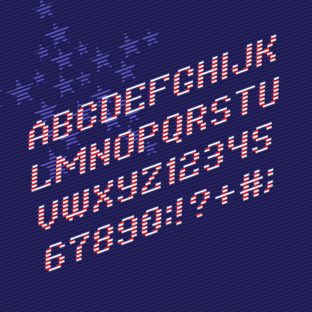 america flag: Color Alphabet font and numbers from Stripes. Stylized to United States of America flag with stars on background