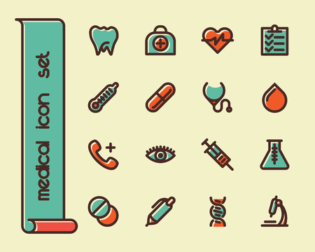 an injector: Fat Line Icon set for web and mobile. Modern minimalistic flat design elements of Healthcare and medical equipment