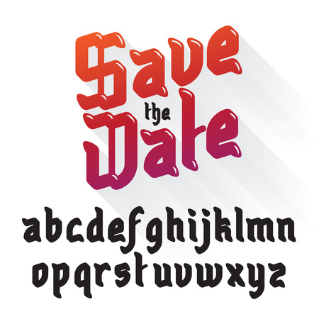 gothic style: Save The Date, Wedding Invitation Card. Modern Gothic Style Font Set Illustration