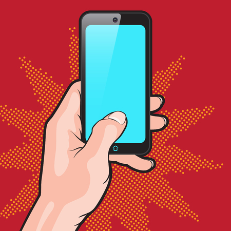 cellphone in hand: PopArt Style Mokup with Smartphone in Hand Illustration