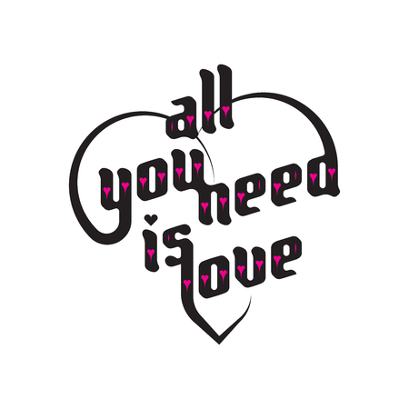 love you: Heart typography. All you need is love. Love typography. Custom font lettering